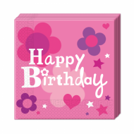 20 stk Servietter Happy Birthday Pink 33x33 cm