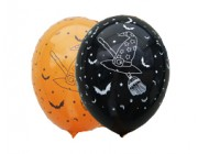 "Halloween 12""(30cm) orange eller sort latex ballon m/heks"