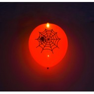 "Orange LED 11"" latex ballon med Halloween print - 5-Pack"