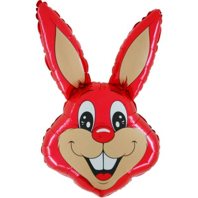"Kanin rød folie ballon 29"" (u/helium)"