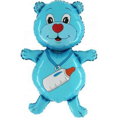 """Bamse med Sut blå folie ballon 36"""" (u/helium)"""