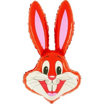"Kanin rød folie ballon 36"" (u/helium)"