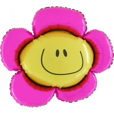 "Smiley Blomst pink folie ballon 33"" (u/helium)"