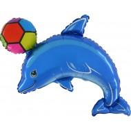 "Delfin med Bold blå folie ballon 30"" (u/helium)"