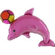 "Delfin med Bold pink folie ballon 30"" (u/helium)"
