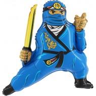 "Ninja blå folie ballon 31"" (u/helium)"