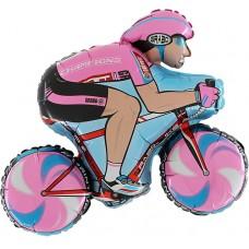 "Cykelrytter pink folie ballon 31"" (u/helium)"