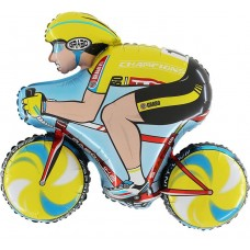"Cykelrytter gul folie ballon 31"" (u/helium)"