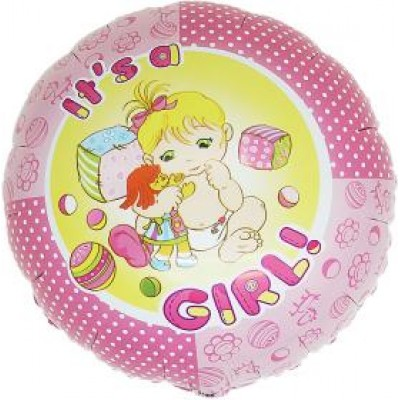 "It's A Girl folie ballon 18"" (u/helium)"