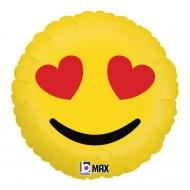 "Emoji Hjerter rund folie ballon 18"" (u/helium)"