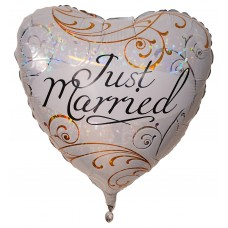 "Just Married folie hjerte ballon 18"" (u/helium)"