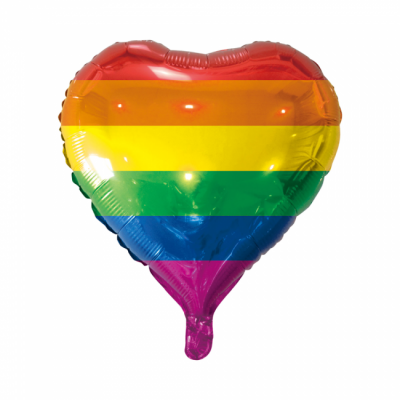 "Regnbue hjerte folie ballon 18"" (u/helium)"