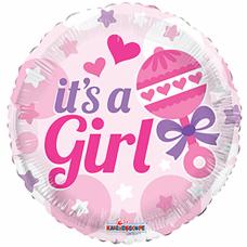 "It's A Girl med rangle folie ballon 18"" (u/helium)"