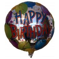 """Fødselsdags Happy Birthday sølv med balloner folie ballon 18"""" (u/helium)"""
