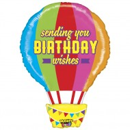 "Birthday Wishes varmluftsballon fødselsdags folie ballon 26"" (u/helium)"