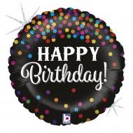 """Fødselsdags Happy Birthday sort med prikker folie ballon 18"""" (u/helium)"""