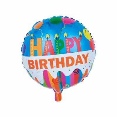 "Fødselsdags Happy Birthday med Stearinlys folie ballon 18"" (u/helium)"