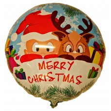 "Merry Christmas rund folie ballon 21"" (u/helium)"