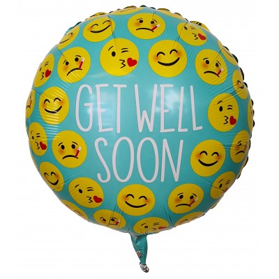 "Get Well Soon med emojis folie ballon 18"" (u/helium)"