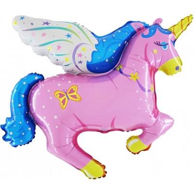 "Enhjørning pink folie ballon 36"" (u/helium)"