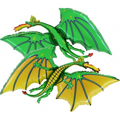 "Drage grøn folie ballon 36"" (u/helium)"