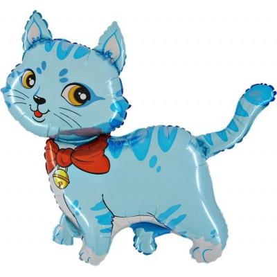 """Kat blå folie ballon 36"""" (u/helium)"""