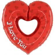 "Hjerte I Love You m/hul folie ballon 36"" (u/helium)"
