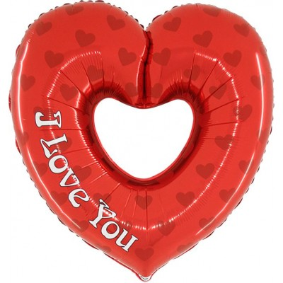 "Hjerte I Love You m/hul folie ballon 36"" (u/helium)"