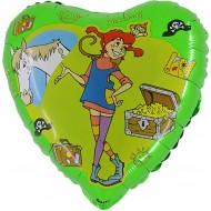 """Pippi grøn licens hjerte folie ballon 18"""" (u/helium)"""