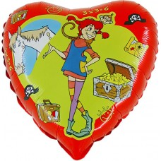 "Pippi rød licens hjerte folie ballon 18"" (u/helium)"