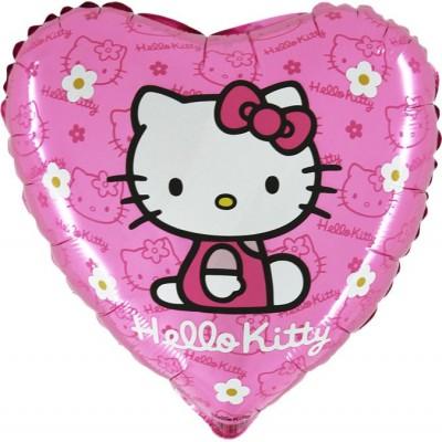 "Hello Kitty pink licens hjerte folie ballon 18"" (u/helium)"