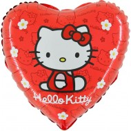 "Hello Kitty rød licens hjerte folie ballon 18"" (u/helium)"