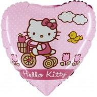 "Hello Kitty Cykel pink licens hjerte folie ballon 18"" (u/helium)"
