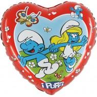 "Smølf licens hjerte folie ballon 21"" (u/helium)"