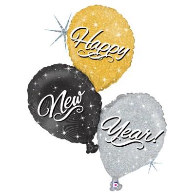 "Happy New Year Ballon Buket folie ballon 32""/80cm (u/helium)"
