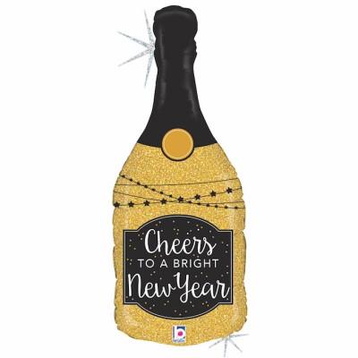 """Happy New Year Champagne Flaske Guld folie ballon 36""""/90cm (u/helium)"""