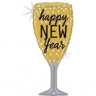 "Happy New Year Champagne Glas Guld folie ballon 36""/90cm (u/helium)"