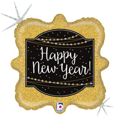 "Happy New Year folie ballon 18""/35cm (u/helium)"