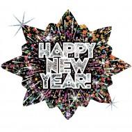 "Happy New Year Fyrværkeri Stjerne folie ballon 28""/70cm (u/helium)"