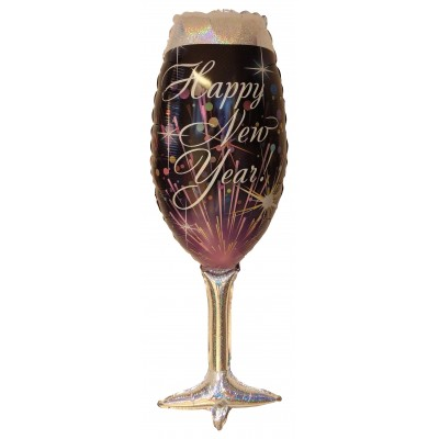 "Happy New Year Champagne Glas folie ballon 36""/90cm (u/helium)"