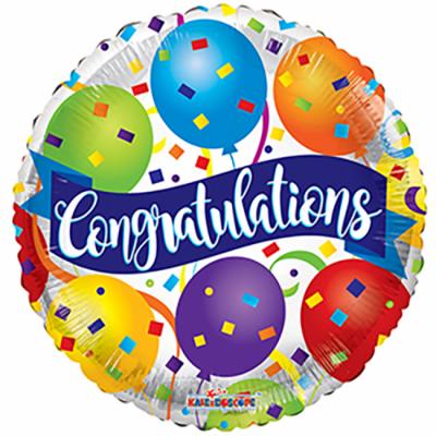 "Congratulations med balloner rund folie ballon 18"" (u/helium)"