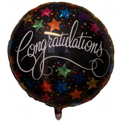 """Congratulations med Stjerner rund folie ballon 18"""" (u/helium)"""