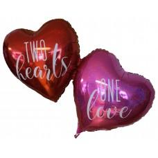 "Two Hearts One Love folie ballon Rød 34"" (u/helium)"