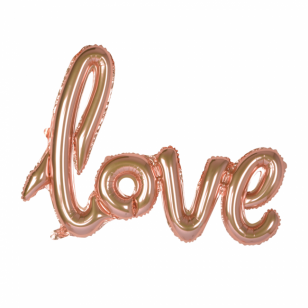LOVE folie tekst ballon Rose Gold 60x75 cm (til luft)